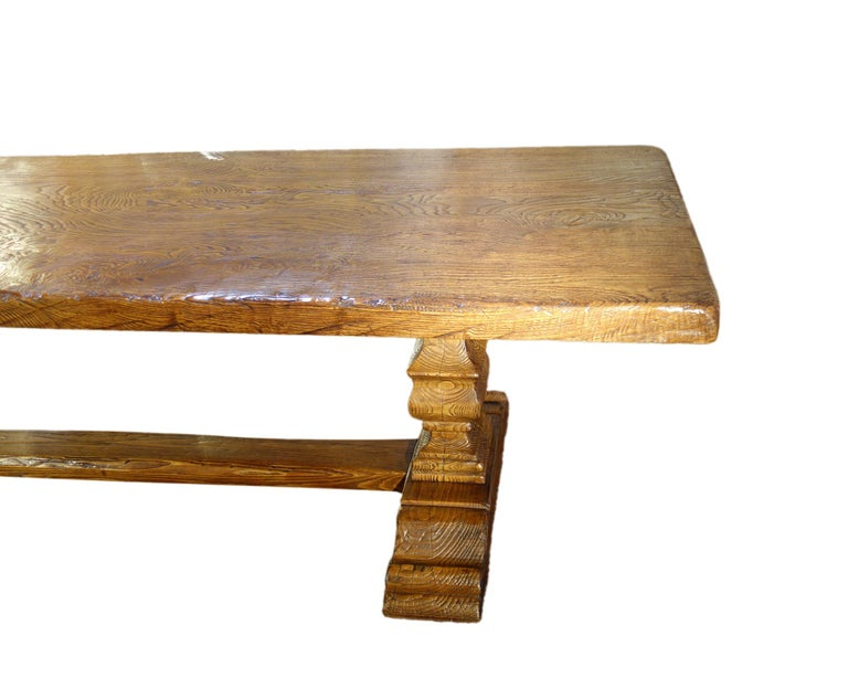 17th Century Style Italian Solid Slab Old Chestnut Trestle Table  For Sale 10