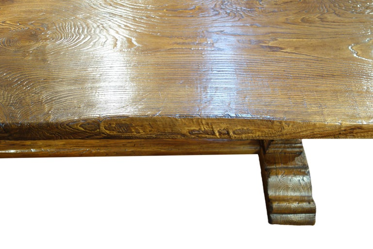 17th Century Style Italian Solid Slab Old Chestnut Trestle Table  For Sale 11