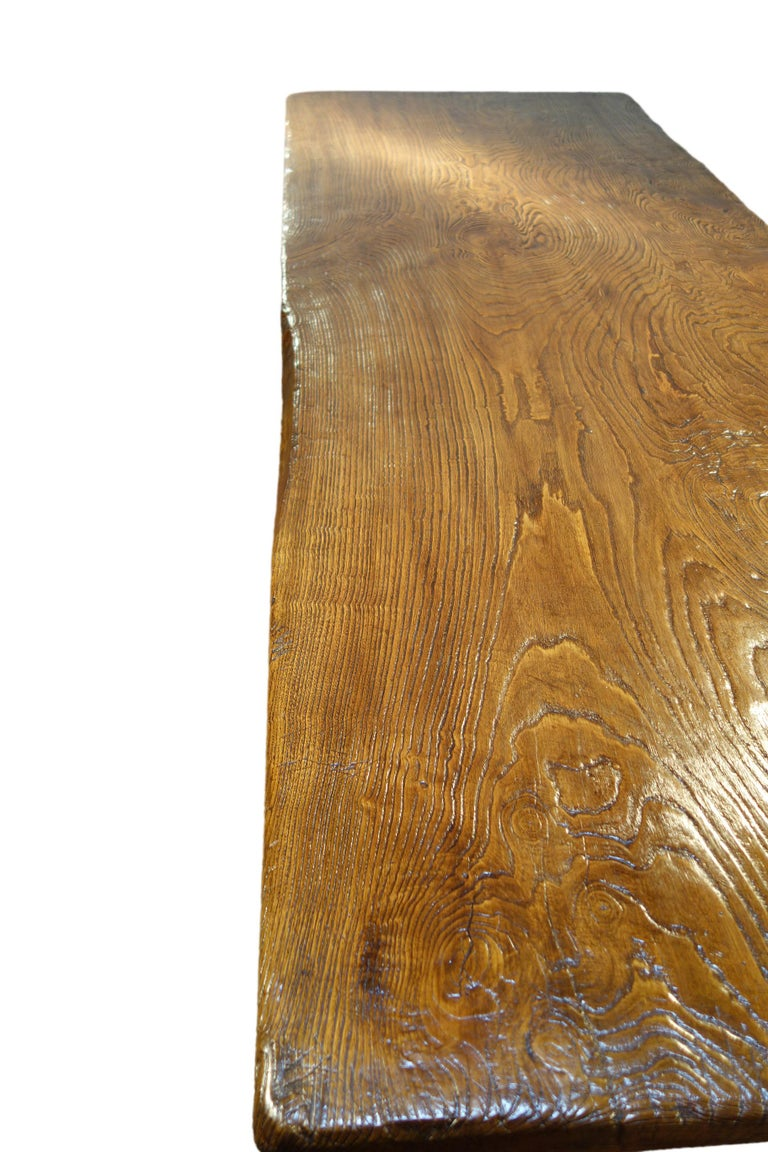 17th Century Style Italian Solid Slab Old Chestnut Trestle Table  For Sale 12