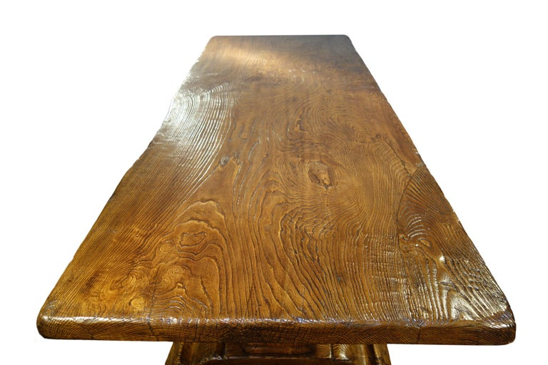 17th Century Style Italian Solid Slab Old Chestnut Trestle Table  For Sale 14