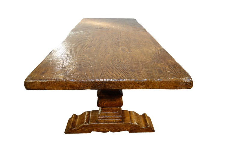17th Century Style Italian Solid Slab Old Chestnut Trestle Table  In Excellent Condition For Sale In Encinitas, CA