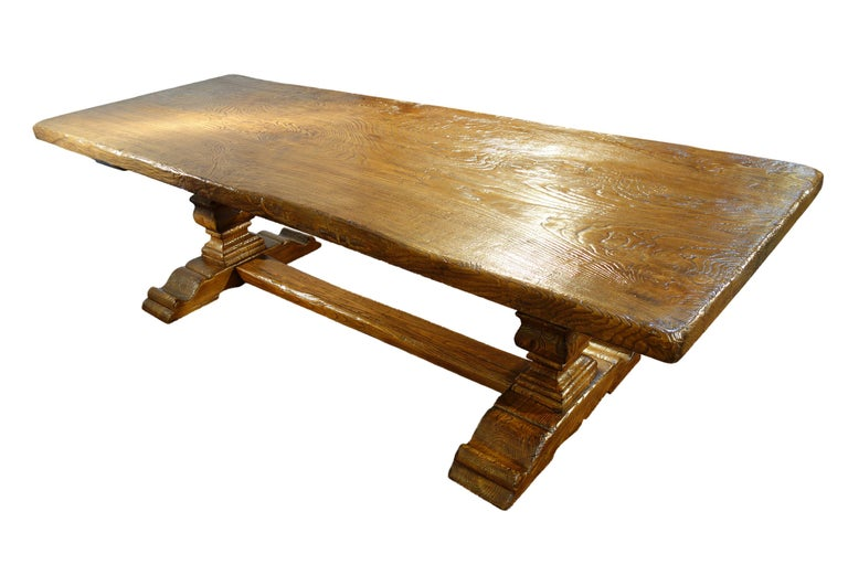 2010s 17th Century Style Italian Solid Slab Old Chestnut Trestle Table  For Sale