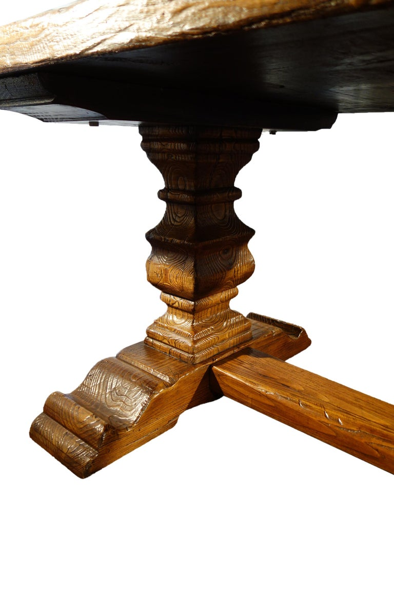 17th Century Style Italian Solid Slab Old Chestnut Trestle Table  For Sale 3