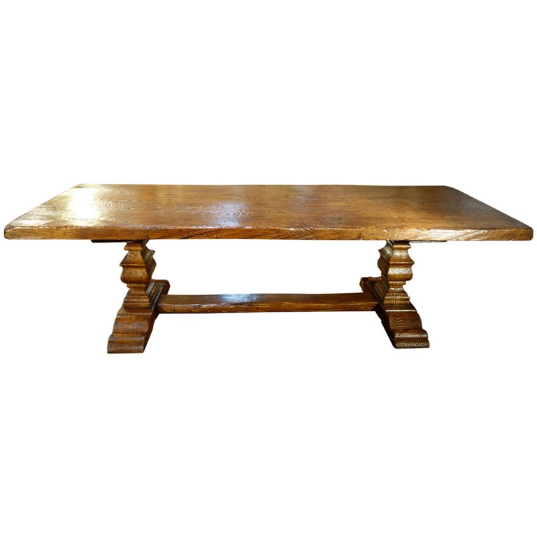 17th Century Style Italian Solid Slab Old Chestnut Trestle Table  For Sale