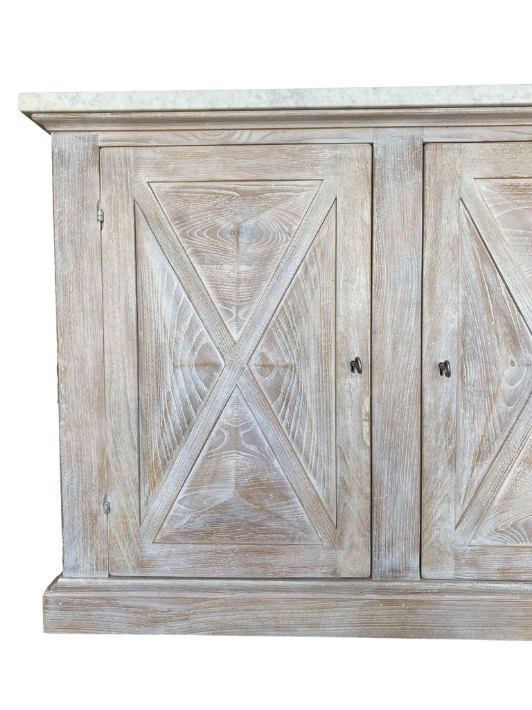 Mediterranean ALPI Handcrafted Credenza with Dolomiti Finish & Carrara Marble For Sale 4