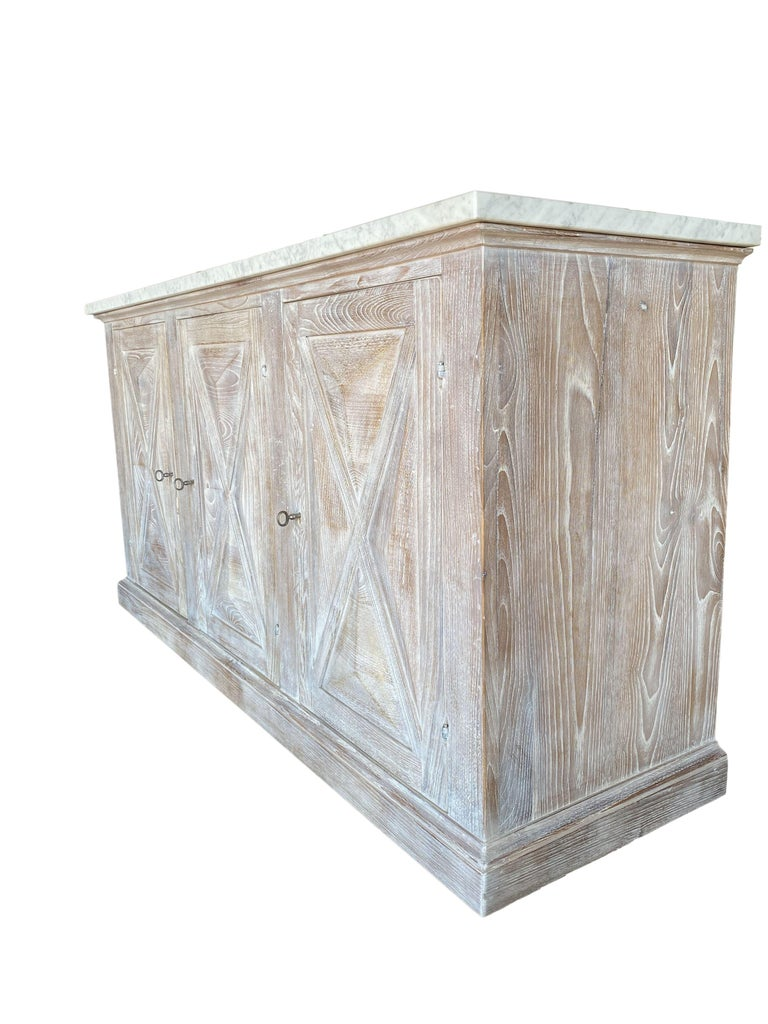 LAST CALL for custom orders for October 2020 arrival ! Mediterranean Style ALPI Customizable Cabinet in Old Chestnut with Dolomiti Finish and Carrara Marble, locks & keys. Our new Alpi 3-door cabinet features solid reclaimed aged Italian chestnut
