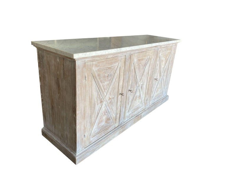 Other Mediterranean ALPI Handcrafted Credenza with Dolomiti Finish & Carrara Marble For Sale