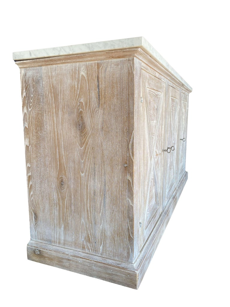 Italian Mediterranean ALPI Handcrafted Credenza with Dolomiti Finish & Carrara Marble For Sale
