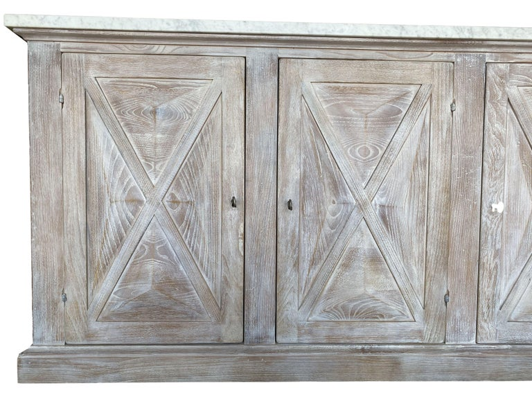 Contemporary Mediterranean ALPI Handcrafted Credenza with Dolomiti Finish & Carrara Marble For Sale
