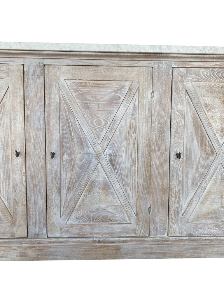 Chestnut Mediterranean ALPI Handcrafted Credenza with Dolomiti Finish & Carrara Marble For Sale