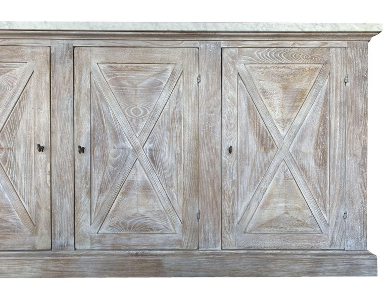 Mediterranean ALPI Handcrafted Credenza with Dolomiti Finish & Carrara Marble For Sale 1