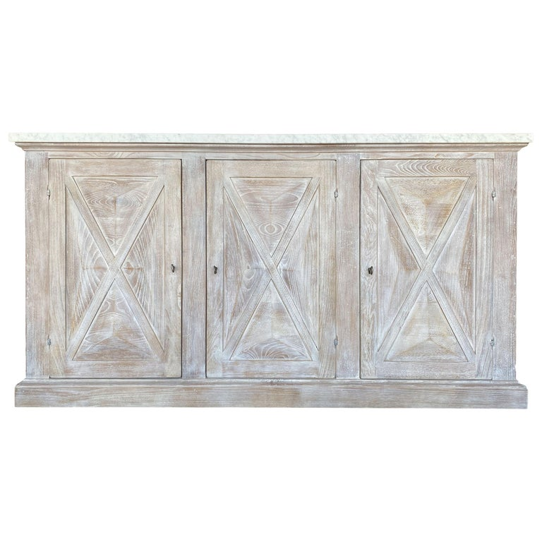 Mediterranean ALPI Handcrafted Credenza with Dolomiti Finish & Carrara Marble For Sale