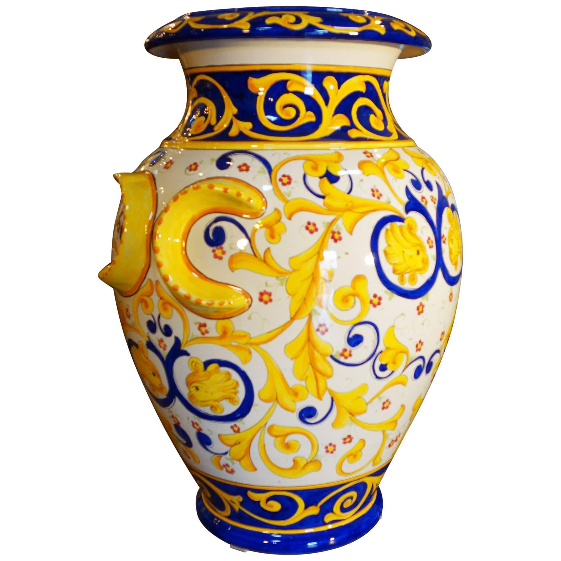 Antique Italian Reproduction Deruta Hand Painted Majolica Orci Vase