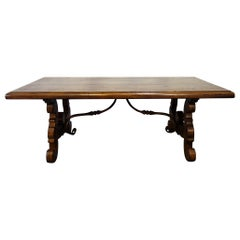 17th Century Style Italian Refectory Old Walnut Coffee Table with Forged Iron