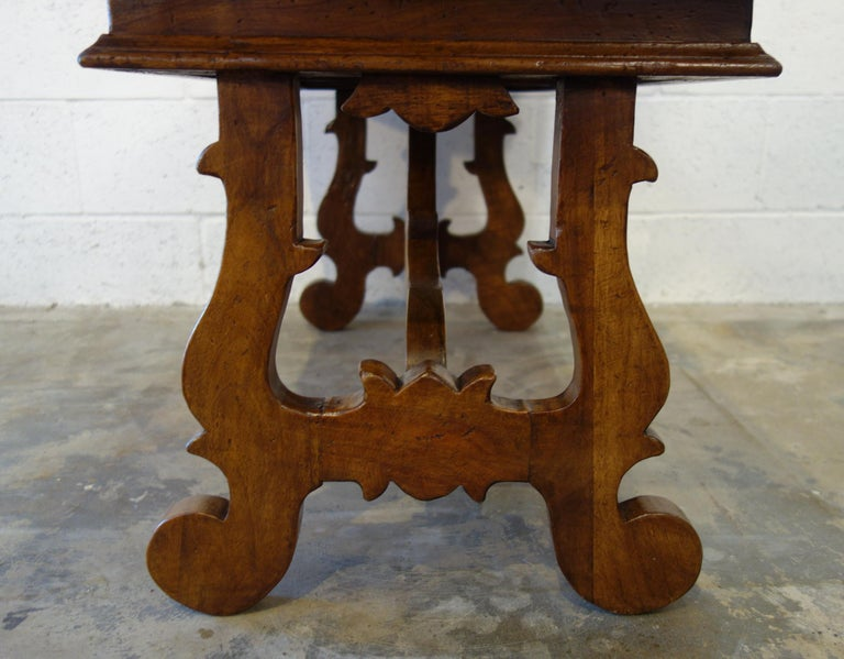 17th Century Style Italian Refectory Old Walnut Coffee Table with Single Drawer For Sale 4