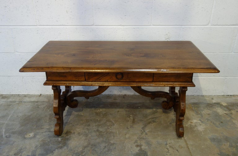 Baroque 17th Century Style Italian Refectory Old Walnut Coffee Table with Single Drawer For Sale