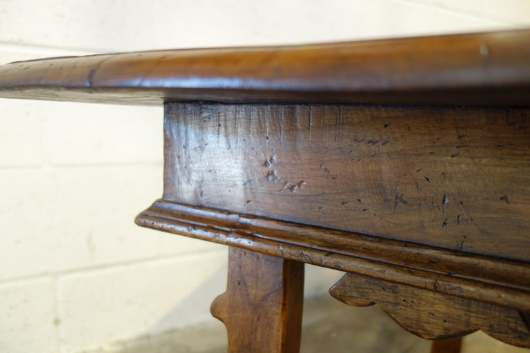 17th Century Style Italian Refectory Old Walnut Coffee Table with Single Drawer For Sale 2