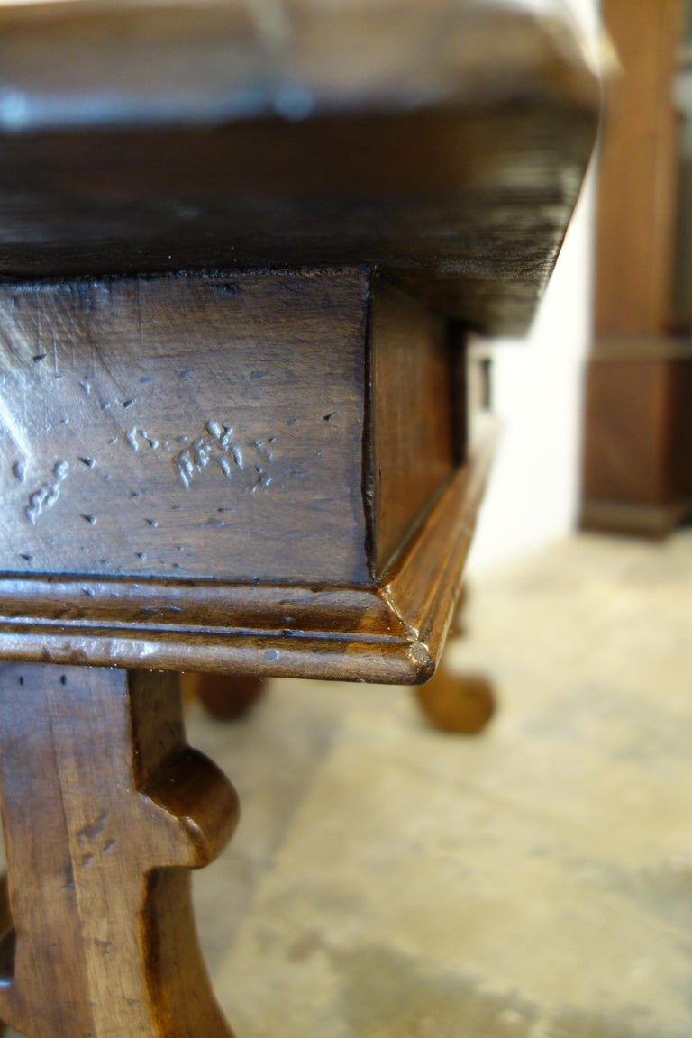 17th Century Style Italian Refectory Old Walnut Coffee Table with Single Drawer For Sale 3