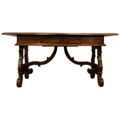 17th Century Style Italian Refectory Old Walnut Coffee Table with Drawer