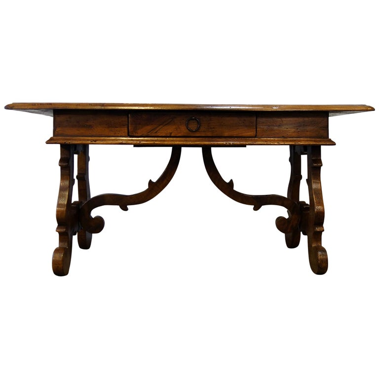 17th Century Style Italian Refectory Old Walnut Coffee Table with Single Drawer For Sale