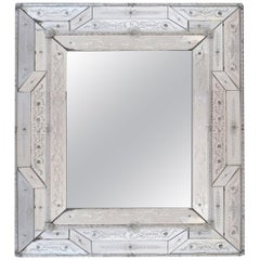 Antique Italian Reverse-Etched Rectangular Venetian Mirror