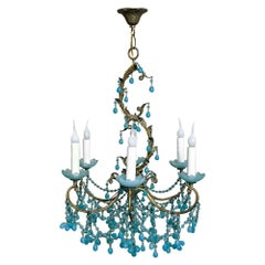 Antique Italian Rococo Brass and Turquoise Glass Chandelier