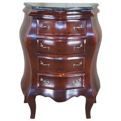 Antique Italian Rococo Crotch Mahogany Marble Bombe Lingerie Commode Chest