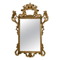 Antique Italian Rococo Style Carved and Gilded Giltwood Mirror