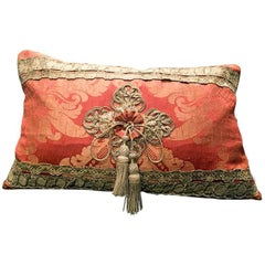 Antique Italian Salmon Silk Damask Pillow, circa 1700 by Eleganza Italiana