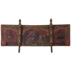Antique Italian Sicilian Carretto Folk Art Painted Donkey Horse Cart Panel