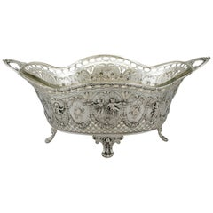 Antique Italian Silver and Glass Centrepiece or Basket