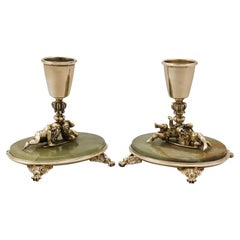Antique Italian Silver Gilt and Marble Candlesticks