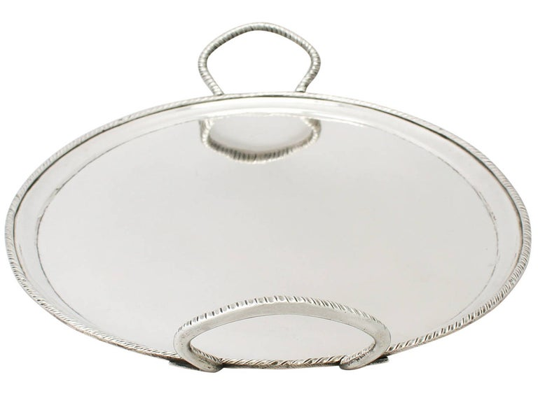 Early 19th Century Antique Italian Silver Tea Tray For Sale