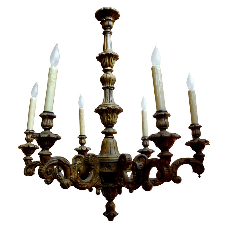 Antique Italian Six-Arm Carved Wood Chandelier For Sale