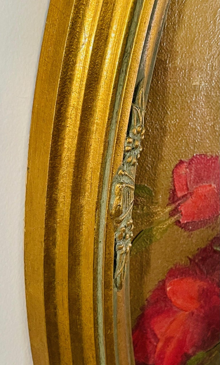 Antique Italian Still Life Vase with Flowers Oil on Canvas Wall Painting For Sale 5