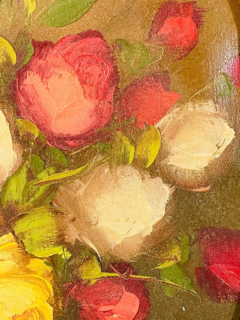 Antique Italian Still Life Vase with Flowers Oil on Canvas Wall Painting In Good Condition For Sale In Plainview, NY