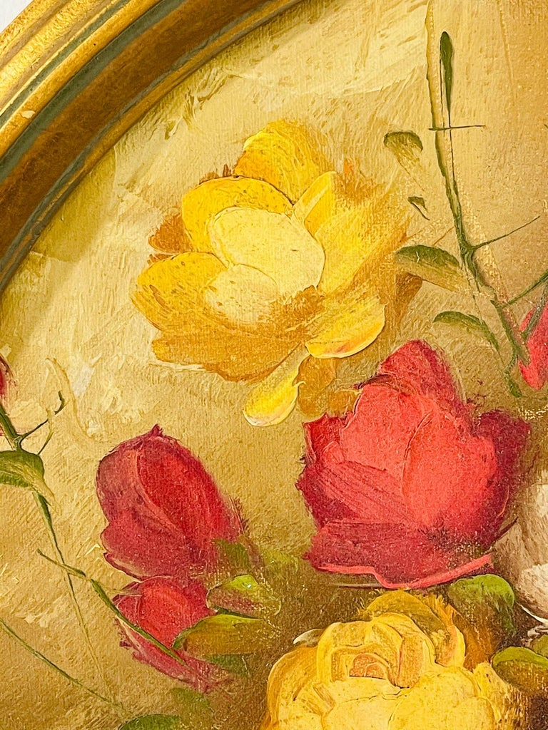 20th Century Antique Italian Still Life Vase with Flowers Oil on Canvas Wall Painting For Sale
