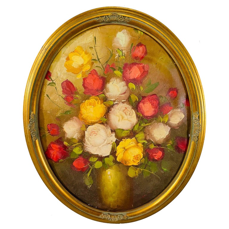 Antique Italian Still Life Vase with Flowers Oil on Canvas Wall Painting For Sale