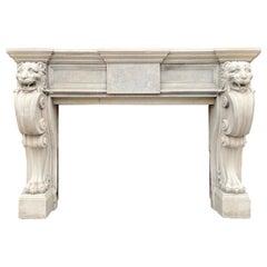 Antique Italian Stone Fireplace Mantel