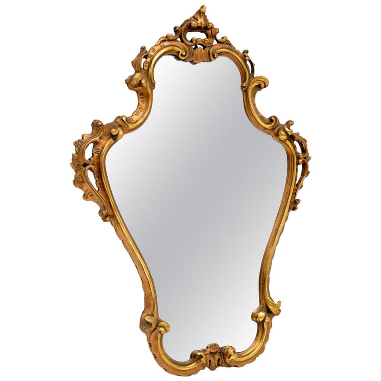 Antique Italian Style Gilt Wood Mirror For Sale