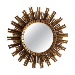 Antique Italian Sunburst Giltwood Mirror
