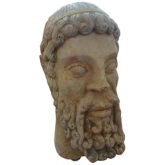 Antique Italian Terracotta Bust of a Greco Roman