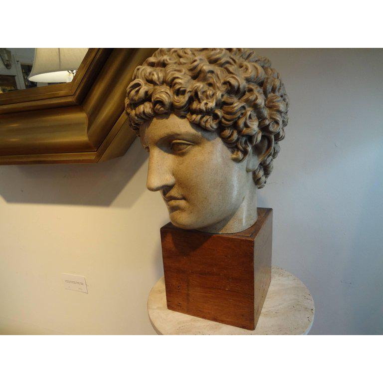 Italian patinated terracotta bust or sculpture of a Classical Roman on a wood base, circa 1920, possibly a Grand Tour piece. Well executed and detailed.