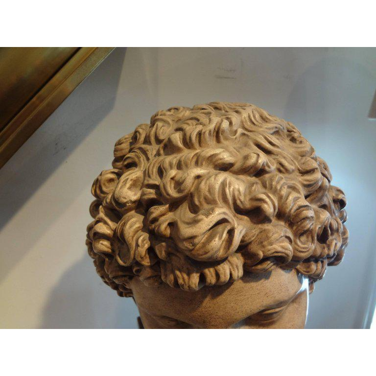 Early 20th Century Antique Italian Terracotta Classical Bust on a Wood Base For Sale