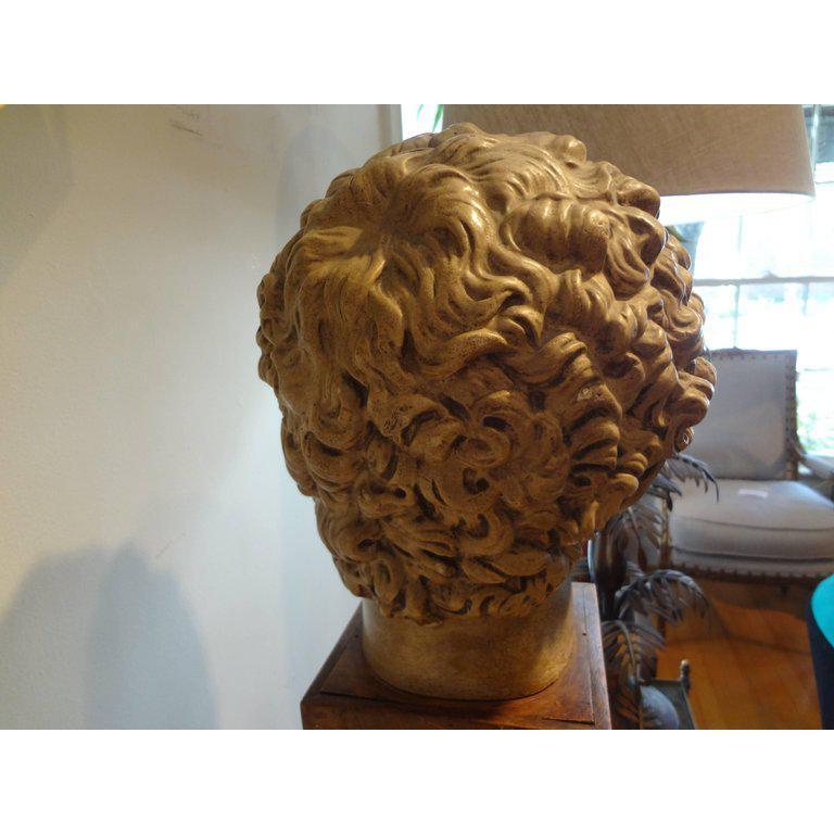 Antique Italian Terracotta Classical Bust on a Wood Base For Sale 1
