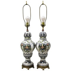 Antique Italian Terracotta Majolica Blue French Country Table Lamps, a Pair
