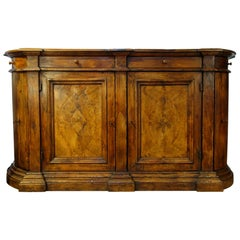 Antique Italian Tuscan Bombata Radica Old Walnut Burl Large Credenza Sideboard