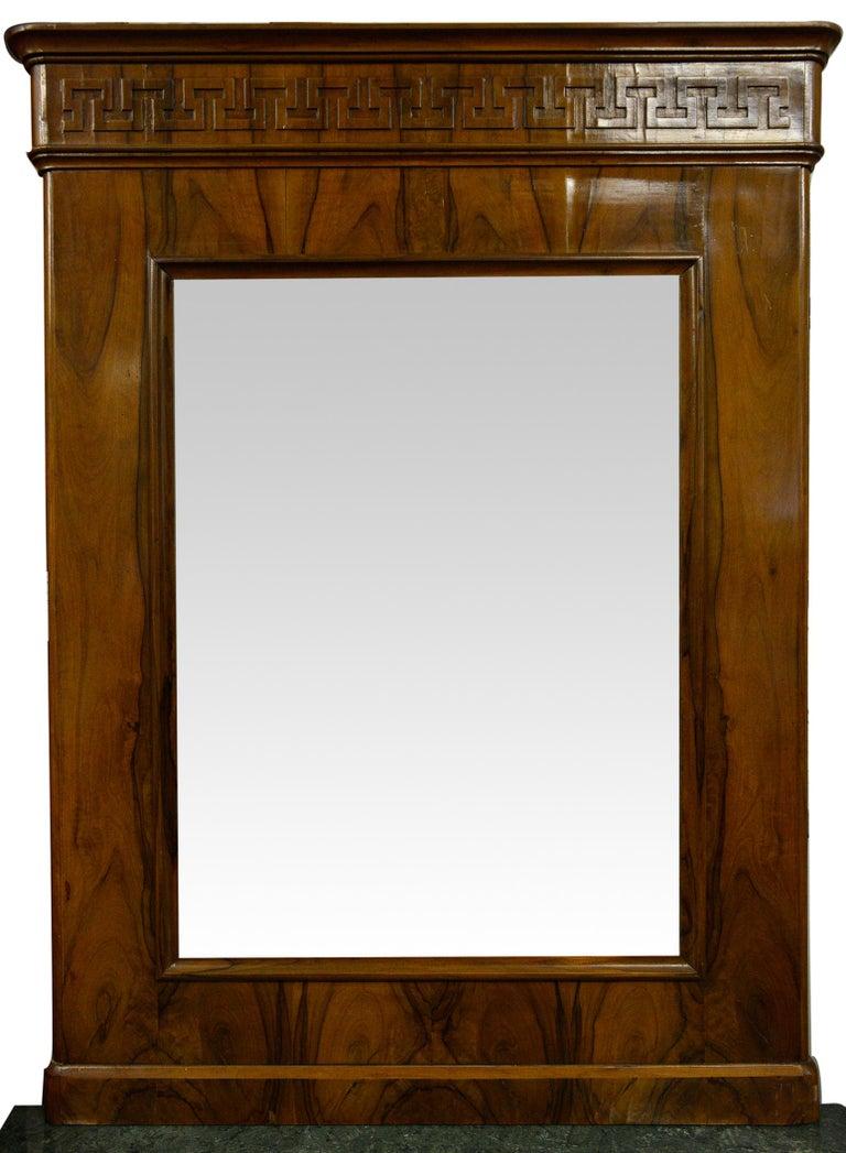 Antique elegant walnut Tuscan Empire console: sizes cm. 86 x depth 41 x h. 81 cm. - Marble top :