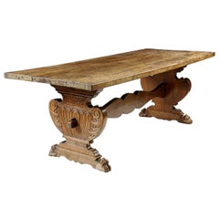 Antique Italian, Tuscan Refectory Table, Solid Walnut