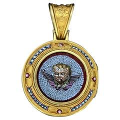 Antique Italian Vatican Era '1870-1929' Locket Pendant with Micro Mosaic